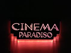 My own Cinema Paradiso sign.  This hangs in my basement and when we are watching a movie in the theater room I turn it own.  Tonight we watched Peter Pan.
