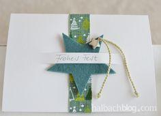 halbachblog I Karten basteln zu Weihnachten in Mint, Hellgrün und Petrol I Schlitz mit Filzstern