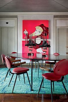 Caperucita roja... #comedor #diningroom #azul #blue #rojo #red