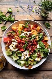 Melon Basil Burrata Salad with Crispy Prosciutto. - Half Baked Harvest Easy Salads, Healthy Salads, Healthy Eating, Healthy Recipes, Burrata Salad, Burrata Cheese, Nicoise Salad, Summer Salad Recipes, Half Baked Harvest