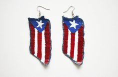 Puerto Rico, Puerto Rican, boricua, morena, Latina, boriqua, red, white, and blue flag earrings