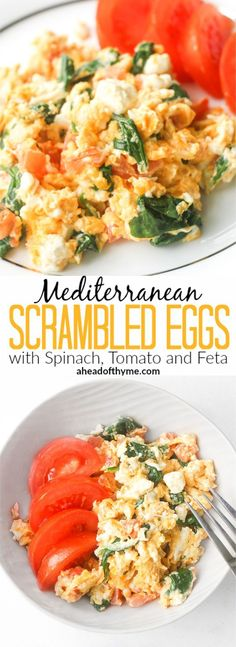 Mediterranean Scrambled Eggs with Spinach, Tomato and Feta: Got a few minutes? Spiff up your breakfast and make it interesting with this delicious Mediterranean scramble | http://aheadofthyme.com