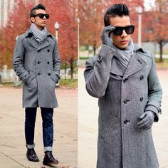 H&M Blend Coat, Levi's® Blue Dark Jeans, Jack Erwin Wingtip Boots, Lanvin Wayfarer Sunglasses, H&M Scarf, Vintage Leather Gloves