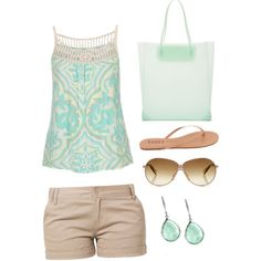 Day at the beach, created by michelle-waldrep on Polyvore