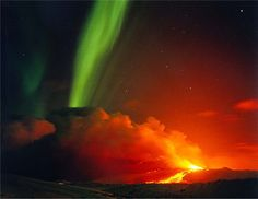 Northern lights over a volcano - Iceland