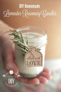 DIY Homemade Candles (with natural lavender-rosemary scent): 4 cups* soy flakes 2 wicks with a metal base 30 drops each per candle: lavender essential oil & rosemary essential oil 2 jars 1 tsp dried rosemary, per candle 1 tsp dried lavender buds, per candle 1 double-boiler, skewer, chop-stick for stirring wax 2 large clothespins 2 washcloths for each jar