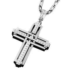 mens unique christian cross jewelry   Triton Men's 1/3 CT. T.W. Diamond Cross pendant in Stainless Steel