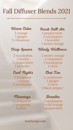 Relaxing Essential Oil Blends, Essential Oil Diffuser Blends, Diy Diffuser Oil, Fall Essential Oils, Essential Oil Candles, Essential Oil Combinations, Diffuser Recipes, Do It Yourself Home, Aromatherapy
