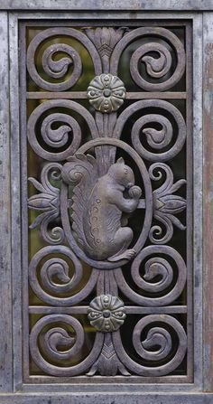 Wrought iron squirrel detail