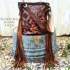 TEMPORARILY OUT OF STOCK! Sepia Boot Top Bucket Bag with Ridiculously Long Fringe by Running Roan Tack