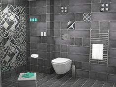 Όλος ο χώρος επενδύθηκε με πλακάκια από την σειρά Terre. Συγκεκριμένα χρησιμοποιήθηκε συνδυασμός των διαστάσεων 20 x 20 cm και 20 x 60 cm. Πρωταγωνιστικό ρόλο στο μπάνιο παίζουν τα ειδικά τεμάχια της σειράς σε ποικιλία σχεδίων και με διάσταση 20 x 20 cm. Toilet, Sink, Bathroom, Home Decor, Sink Tops, Washroom, Flush Toilet, Vessel Sink, Decoration Home