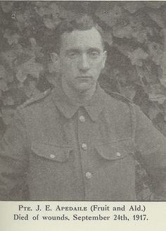J Apedaile: one of the many men from our York factory who gave their lives in the First World War.