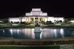 Mormon Temple at Night in Laie, Hawaii