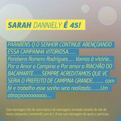 #MensagemPorAmorACampina enviada através do site http://romero45.com.br/ Obrigado pelo confiança, Sarah. Um abraço a todos de Riachão de Bacamarte.