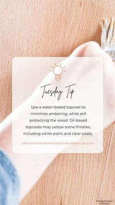 TUESDAY TIP: Crystal Clear Topcoat 🔮 Use a water-based topcoat, like General Finishes High Performance Topcoat, to minimize yellowing of your finish. Water-based topcoats offer a crystal clear finish, which is great if you love the natural color of wood or if you are topcoating a white paint. Always make sure to follow finish manufacturer's instructions! Like and follow for more tips! #TuesdayTip #Furniture #Wood #DIY #UnfinishedFurnitureofWilmington Unfinished Furniture, General Finishes, Topcoat, White Paints, Tuesday, Web Design, Crystals, Natural, Wood
