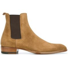 Saint Laurent 'Wyatt' 30 Chelsea Boots ($895) ❤ liked on Polyvore featuring men's fashion, men's shoes, men's boots, men, shoes, brown, mens beatle boots, mens brown leather boots, yves saint laurent mens shoes and mens brown boots