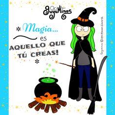 *Magic is what you do! Ser tú mism@ es la única magia que necesitas! :D #magia   #crear   #tu   #guyuminos   #ilustracion   #gif   #cute   #halloween   #witch