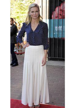 Kirsten Dunst in polka dot blouse and white maxi skirt