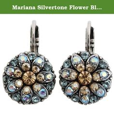 Mariana Silvertone Flower Blossom Crystal Earrings, Blue Colorado 1029 216-3. About Mariana Jewelry: Mariana believes what music is to the ear, color is to the eye. Her exquisite creations make the woman who wears them glow with confidence and love for life. Since 1997, her exuberant sense of color and unexpected fusion of old and new, crystal and stone, material and spirit, have been the very heart and soul of her creative vision. Mariana jewelry is made with components as varied as the...