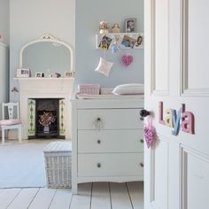 Looking for traditional children's bedroom decorating ideas? Take a look at this modern children's bedroom from Ideal Home for inspiration. For more children's bedroom ideas, such as how to decorate with bold colours, visit our children's bedroom gallery Bedroom Ideas For Teen Girls, Teen Girl Bedrooms, Big Girl Rooms, Kids Rooms, Farrow Ball, Pastel Bedroom, Pastel Nursery, White Nursery, Blue Bedroom
