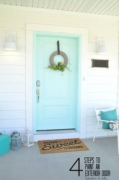 How to paint an exterior door - four easy steps. Paint your front door and love the way the front of your home looks! Curb appeal.