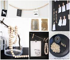 Moodboard wooden beads + pegs | houten kralen woonketting + knijpers