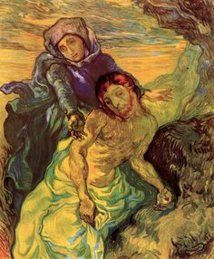 The Pieta (after Delacroix) - Vincent van Gogh  - Painted in Sept 1889 while in the Saint-Rémy Asylum - Current location: Van Gogh Museum, Amsterdam, Netherlands .............#GT