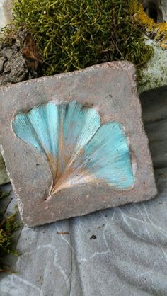 Ginkgo Cement Leaf Casting Tile by Oregon Bliss.