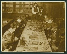 Cobbling Classes at unidentified industrial schools [West Side School and East River School] Migrant Worker, East River, Gilded Age, Slums, West Side, Historical Society, Wwi, Cobbler, American History