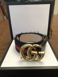 411403ff007 Blue Red Double G Gold Buckle Gucci Belt 42 105cm (Size 38)