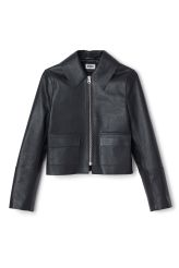 <p>The PC Taxi Jacket is crafted from shiny <strong>leather</strong> with a slightly bigger and pointed collar and two flap pockets in front. This leather jacket has slightly wider and longer cuffs and a straight shape with a sharp, modern look.</p><p>- Size Small measures 96 cm in chest circumference and 49 cm in length. The sleeve length is 62 cm.</p>