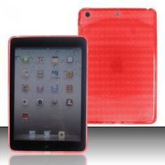 For Apple Ipad MINI Accessory - Red Agryle TPU Soft Gel Case Proctor Cover + Lf Stylus Pen + Lf Screen Wiper