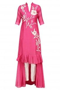Pink Floral Thread Embroidered High Low Kurta with White Pants #myoho #newcollection #shopnow #ppus #happyshopping