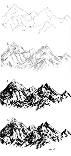 I really love sketchy pen and ink work. These moutains are a great example!