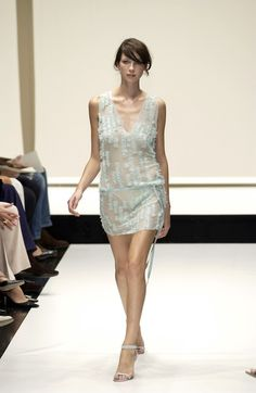 Caitriona Walking for Krizia Spring 2003 *She has the sweetest smile :) Sheer Clothing, 90s Outfit, Caitriona Balfe, Model Pictures, Celebs, Celebrities, Beautiful Legs, Supermodels, Catwalk
