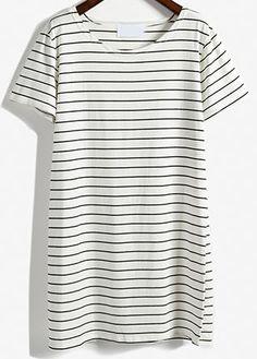 White Short Sleeve Striped Loose T-Shirt Dress