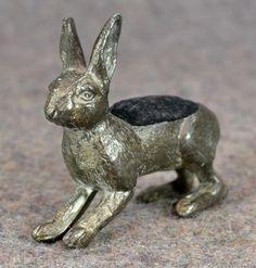 Victorian Bunny Rabbit Pin Cushion; Quadruple Silver Plate