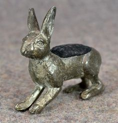 Victorian Bunny Rabbit Pin Cushion; Quadruple Silver Plate