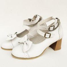 Vintage Straps Leather Lolita Heels Shoes