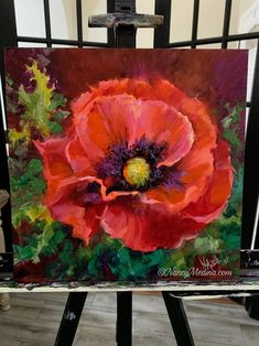 """Daily Paintworks - """"Desert Heat Red Poppy"""" - Original Fine Art for Sale - © Nancy Medina Acrylic Flowers, Watercolor Flowers, Watercolor Paintings, Gouache Painting, Acrylic Painting Canvas, Canvas Art, Pour Painting, Art Floral, Red Poppies"""