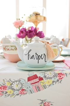 a birthday tea party A Fabulous Fete- I love the painted tea pot as a centerpiece! Great inspiration and tea pots can easily be found at thrift stores. Girls Tea Party, Tea Party Theme, Tea Party Birthday, 4th Birthday, Tea Parties, Birthday Ideas, Girl Parties, Twin Birthday, Birthday Stuff