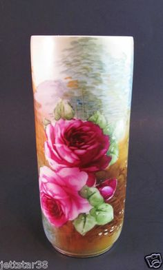 Antique Hand Painted Nippon Porcelain Woodland Scenic Roses Vase   c.1891