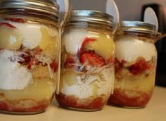 Cheesecake Strawberry Shortcake in a mason jar. Super super easy!!