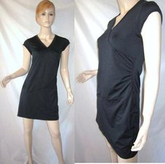ATHLETA Nectar Faux Wrap Ruched Sheath Skater Black LBD Dress XSP...see more details at this link - http://stores.shop.ebay.com/vintagefluxed