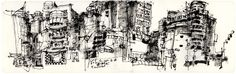 Sketch / urban sketching, (c) Ch'ng Kiah Kiean. Great line usage - from chaos to structure..