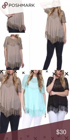 """CUTE PLUS BOHO TOPS IN MINT BLUE, BLACK & TAUPE! These boho crochet knit yoke and fringe tops are beautiful! Comfy and unique! 55% ramie and 45% cotton. Unlined. length 31-33"""". Mint blue, black and taupe!                                                      ♦️XL: bust 46"""" hips 70""""                                                ♦️XXL: bust 48"""" hips 70""""                                                ♦️XXXL: bust 50"""" hips 72""""                                         ♦️Arms: 14-17"""" tla2 Tops"""
