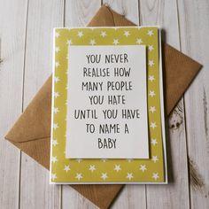New baby card for the less sentimental new mum! #newbaby #newmum #namingthebaby #itshardwork #stars #diffydolls #findmeonetsy #diffydolls.com #handmade