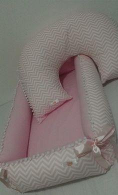 Ninho + Travesseiro + Almofada De Amamentação Chevron Rosa   Que Seja Doce... Enxovais para bebe   Elo7