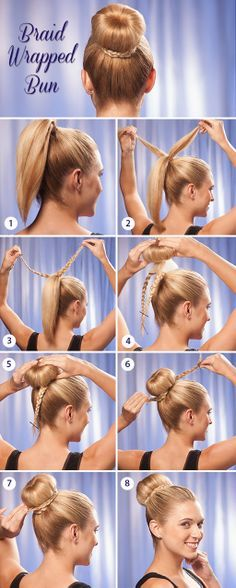 Gather all hair into a high ponytail. Pull 2 half inch pieces of hair directly from the pony tail and braid. Secure with a bobby pin at the end of each. Lift ponytail through a bun maker and unroll it so it covers the entire ponytail. Roll the 'bun maker' downward, while tucking hair into it. Wrap each braid around the bun in opposite directions. Secure with bobby pins and voila! http://www.hairperfecter.com/how-to-make-a-braid-wrapped-bun/