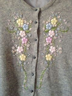 vintage grey floral embroidered cardigan by shopwhen on Etsy Embroidery On Clothes, Wool Embroidery, Embroidered Clothes, Hand Embroidery Stitches, Silk Ribbon Embroidery, Hand Embroidery Designs, Embroidery Dress, Broderie Simple, Bordado Floral